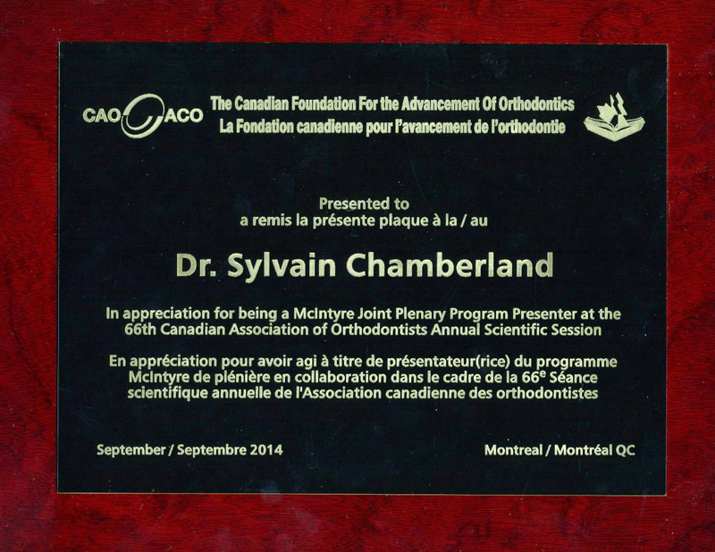 CAO-ACO 2014-Dr Chamberland orthodontist in Quebec City